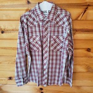 Wrangler Red Plaid, Poly/Cotton, Western Shirt